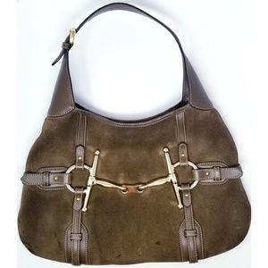 Gucci 85th Anniversary Horse Bit Brown Suede Bag